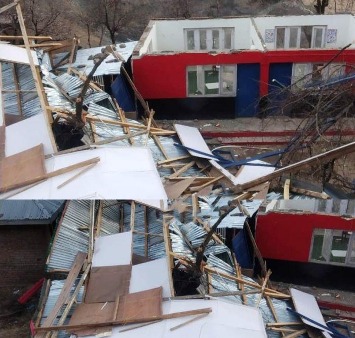 School building damaged due to wind in Uri
