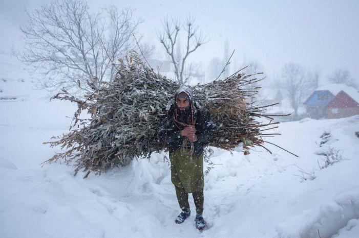 Overnight snowfall across Kashmir