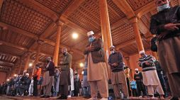 People offer prayers on the first Friday of Ramadan in Jamia Masjid in Srinagar