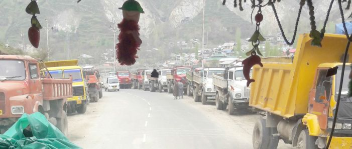 Tipper, stone quarry workers hold protest against authorities infringing their routine work