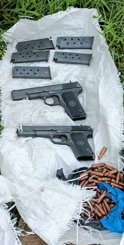 2 pistols, 5 magazines along with 122 bullets found in Samba