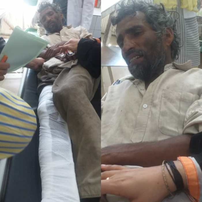 Unidentified man injured in a road accident near Kandizal by pass