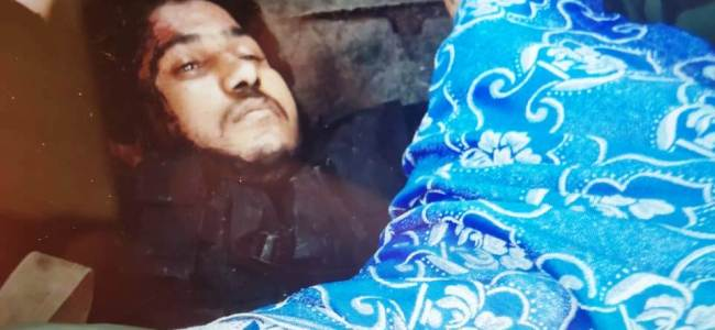Dead body of LeT commander Naveed Jatt that was recovered post culmination of the encounter in central Kashmir's Chattergam