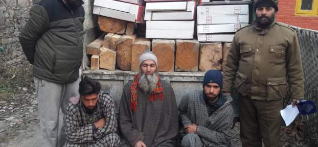 Illegal timber seized in Baramulla village, 3 arrested