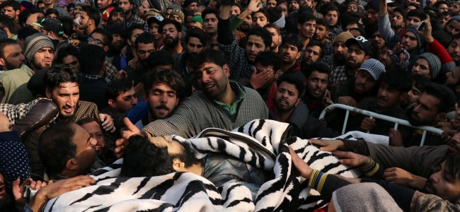 Funeral of slain militants who were killed in a gunfight that raged in Tral on Saturday  -KV Picture