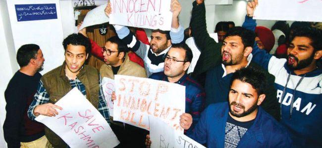 Pulwama killings: PDP workers protest inside Civil Secretariat in Jammu