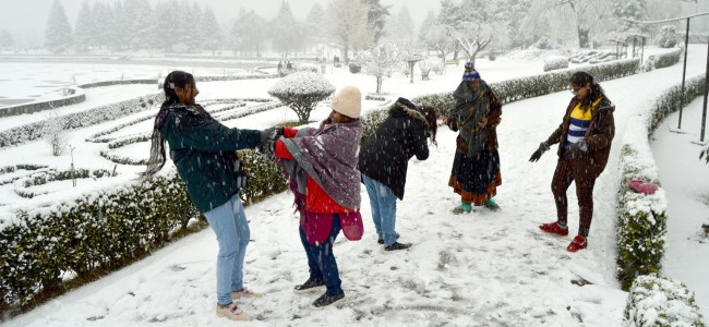 Snow cover: A group of tourists enjoying a heavenly moment in Srinagar on Friday  -KV Photo