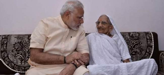 PM Modi meets his mother during Gujarat tour