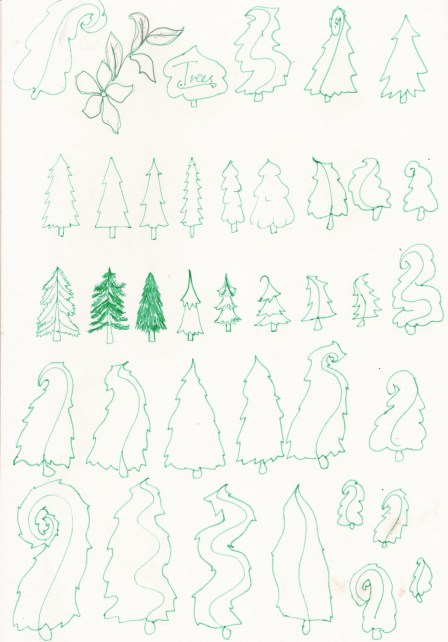 Different coniferous tree sketches