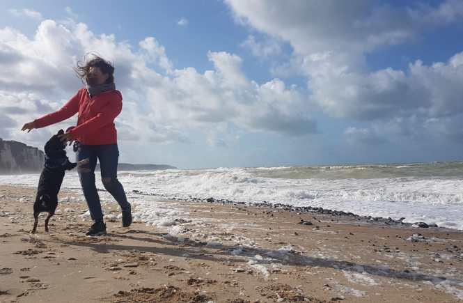 słoneczny dzień na plaży w Normandii