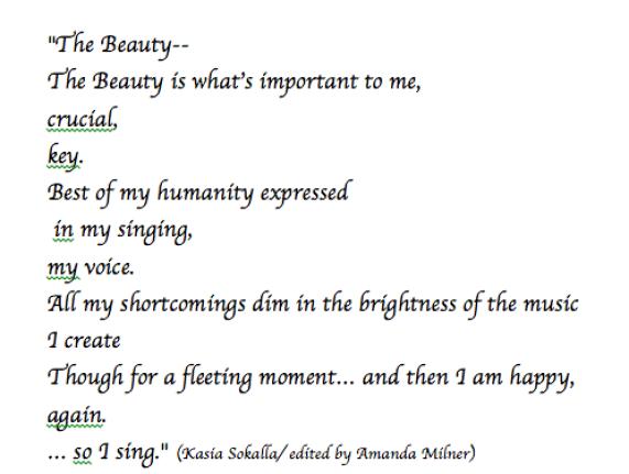 The beauty poem Kasia