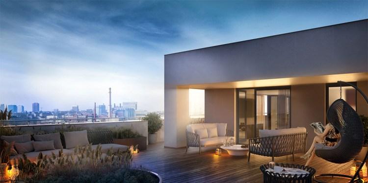 Wizualizacja tarasu mieszkania na X piętrze osiedla Primo