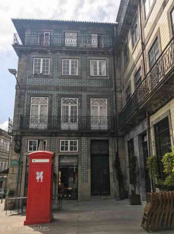 red phone booth in Porto