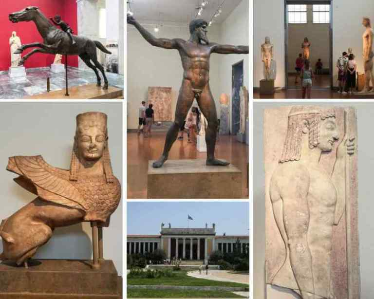 collage of bronze and marble statues