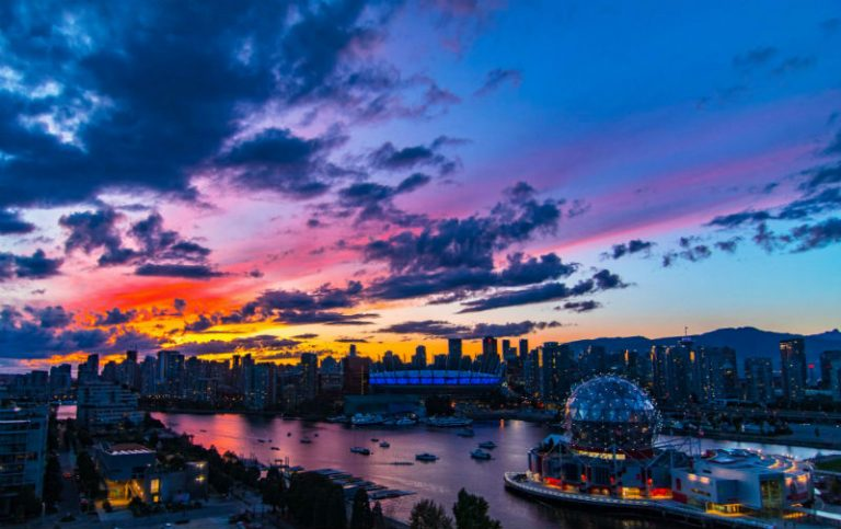 skyline of Vancouver at sunset