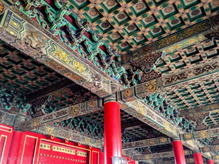 colorful details of ceiling panels at the palace museum