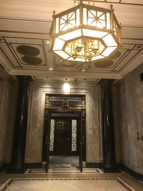 chandelier in the elevator lobby
