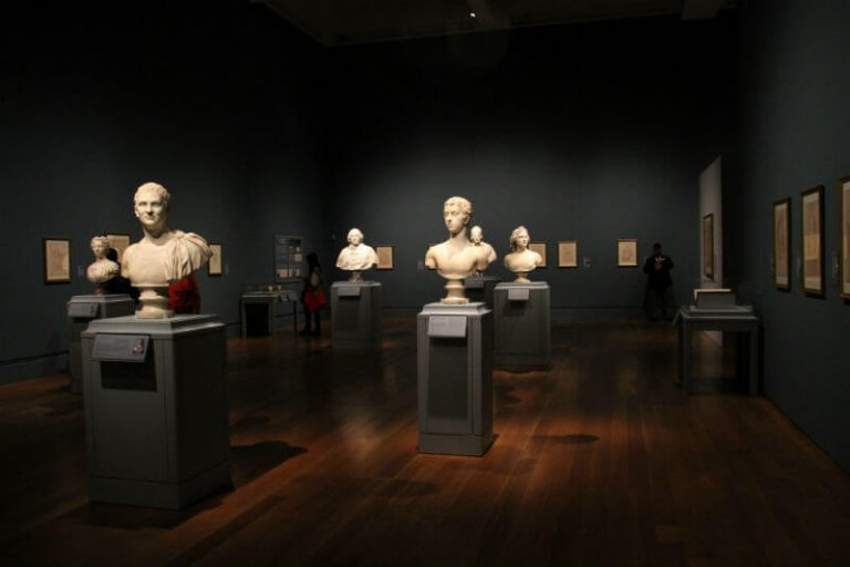 busts at a museum