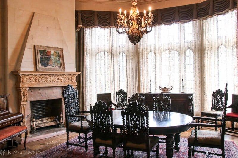 dining room inside Casa Loma