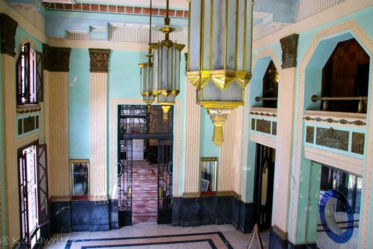 blue interior lobby
