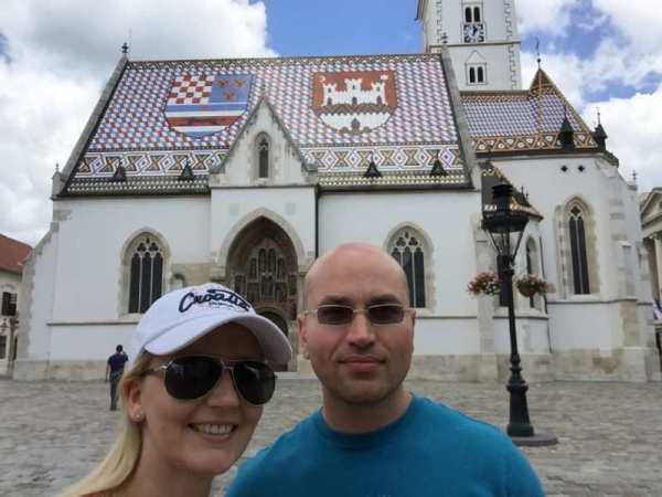 couple in front of a church in Zagreb