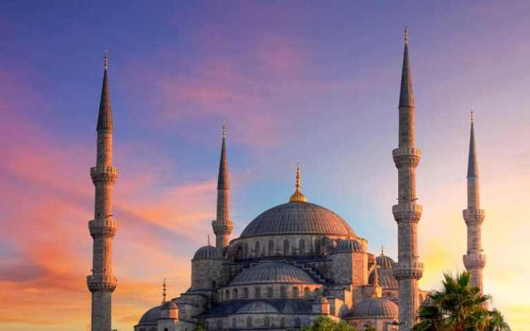 towers of Hagia Sofia at sunset