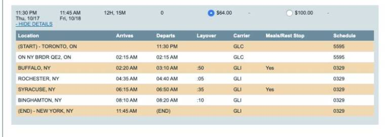bus schedule from Toronto to New York