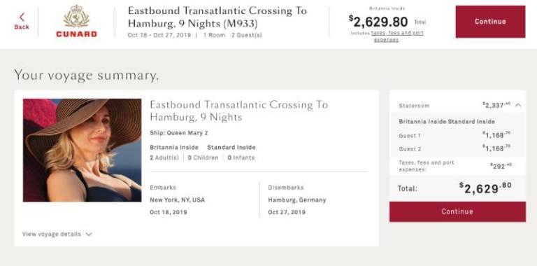 transatlantic cruise fee summary