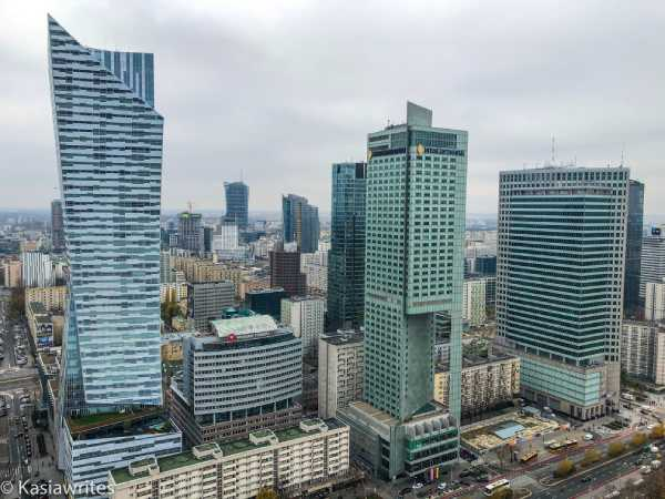 aerial view of tall glass skyscrapers in Warsaw