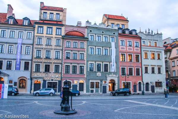 colourful buildings in Warsaw old town