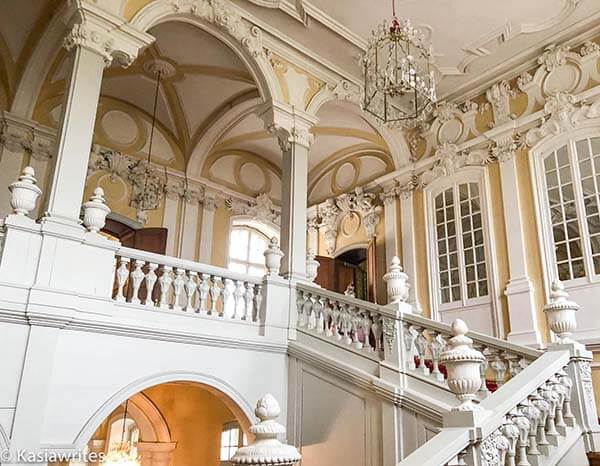 grand staircase inside Rundale Palace
