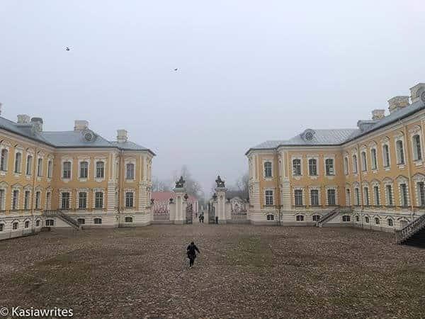 foggy courtyard of Rundale Palace Latvia