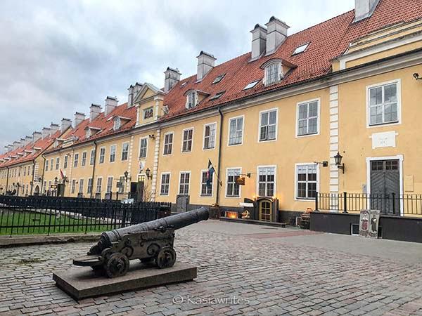canon statue in Jacob's Barracks in Riga, Latvia's capital