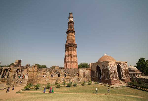 view of Qutub Minar tower and surrounding area