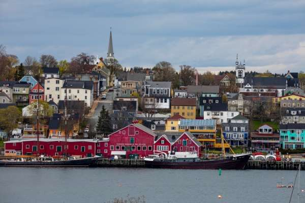 View of waterfront of Lunenburg Nova Scotia from the water