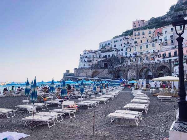 beach chairs at Amalfi Coast beach