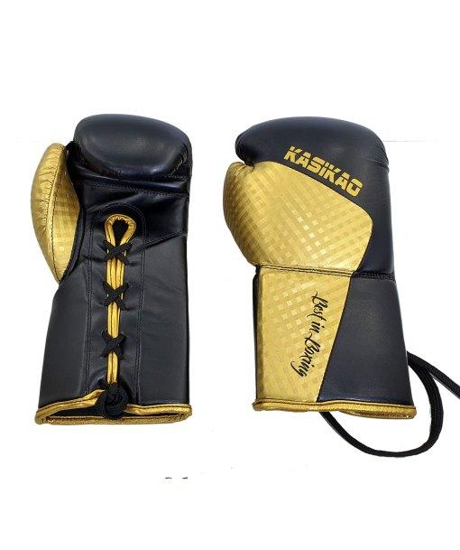 Guantes de boxeo oro con cuerdas