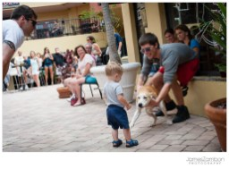Here's my nephew, who needed to say hi to every dog in the courtyard.