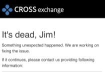 CrossExchange、6/22の日報 クレカ購入のエラーについて