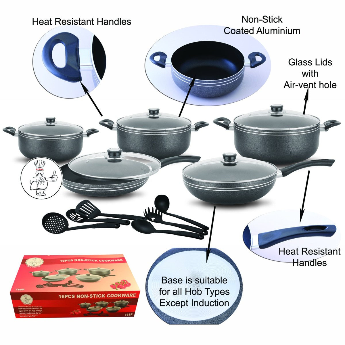 16pcs-Non-Stick Cookware Set
