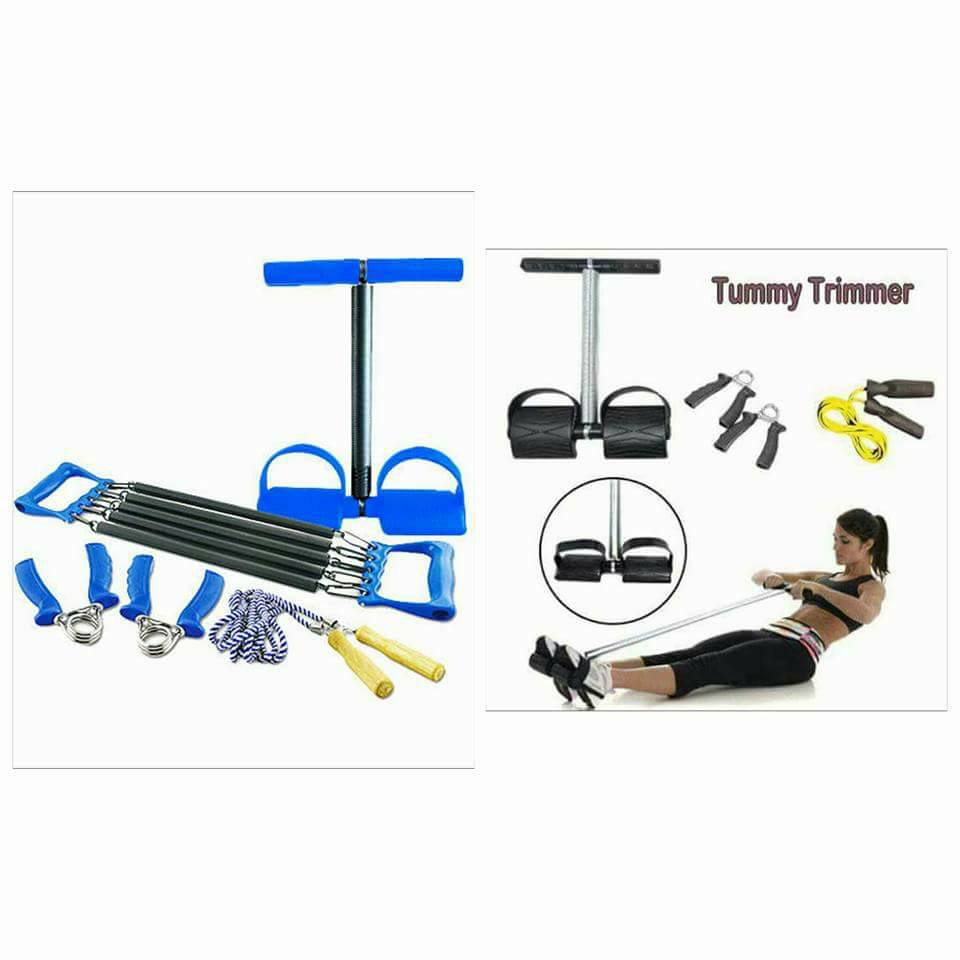 Family Workout Set With Chest Expander Tummy Trimmer Hand Grip & Skipping Rope (Silver:Black/Blue)