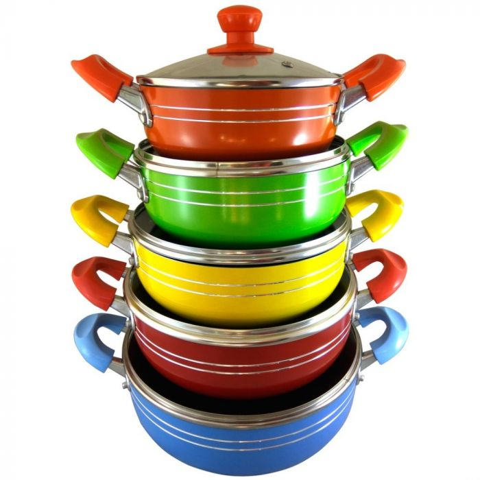 Non-Stick 10 pcs. Cookware Set with Glass Lids (Assorted Colors)