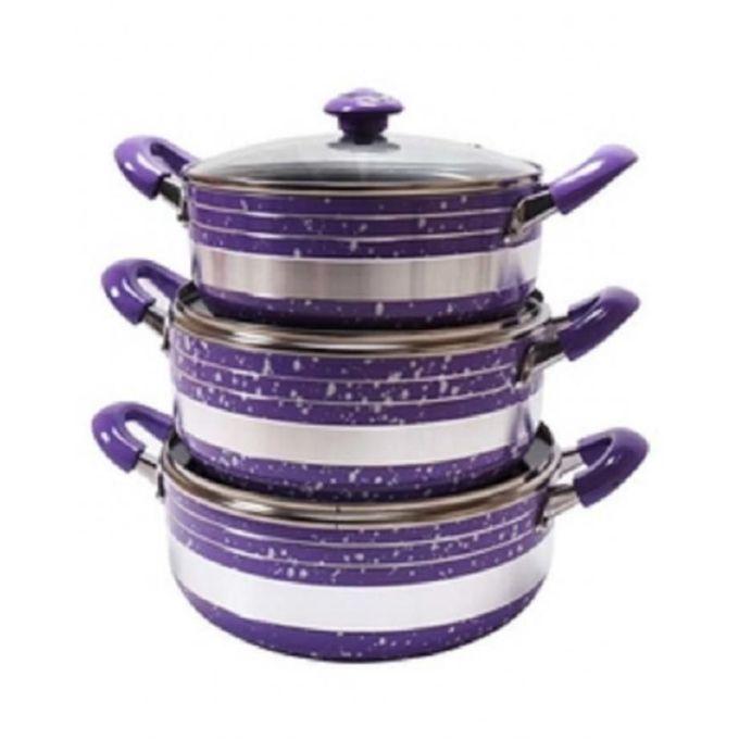 Non-Stick Kitchen Cooking Pot - 3 Piece Set - Purple 12.4cm x 12.4cm