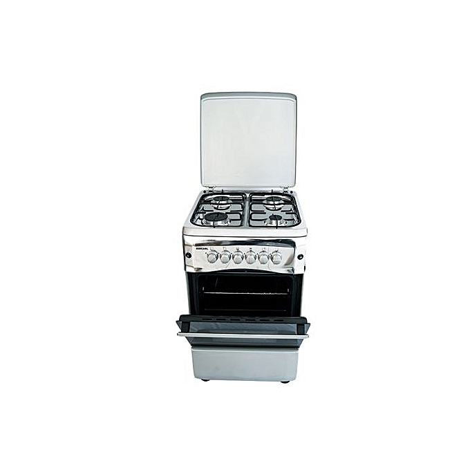 Bruhm BGC 5040NX - 4 Gas Burner,Gas Oven ,Stainless Steel Standing Cooker - Metalic Grey