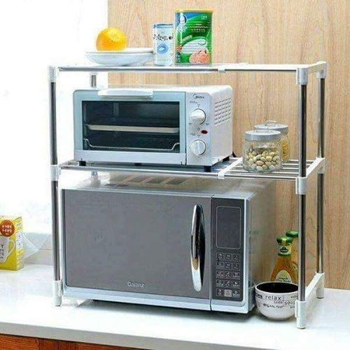 Adjustable Stainless Steel Multifunctional Microwave Oven Shelf Rack - Silver - Silver
