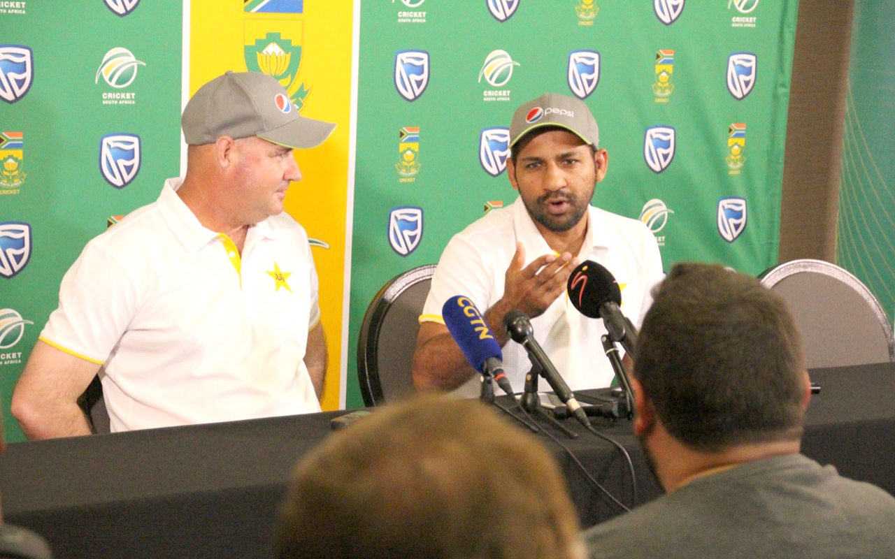 Former Proteas coach Arthur was accompanied by one of the most successful captains in Pakistan's Test history, Sarfraz Ahmed. Photo: Ryk Meiring