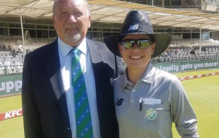 Pictured with Gerrie Pienaar, Cricket SA Head of Umpiring, Agenbag was one of two on-field umpires in the opening match of the Sri Lanka women's tour of South Africa, at Newlands in Cape Town. Photo: Kass Naidoo