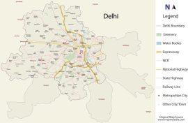 Map of Delhi (traced)
