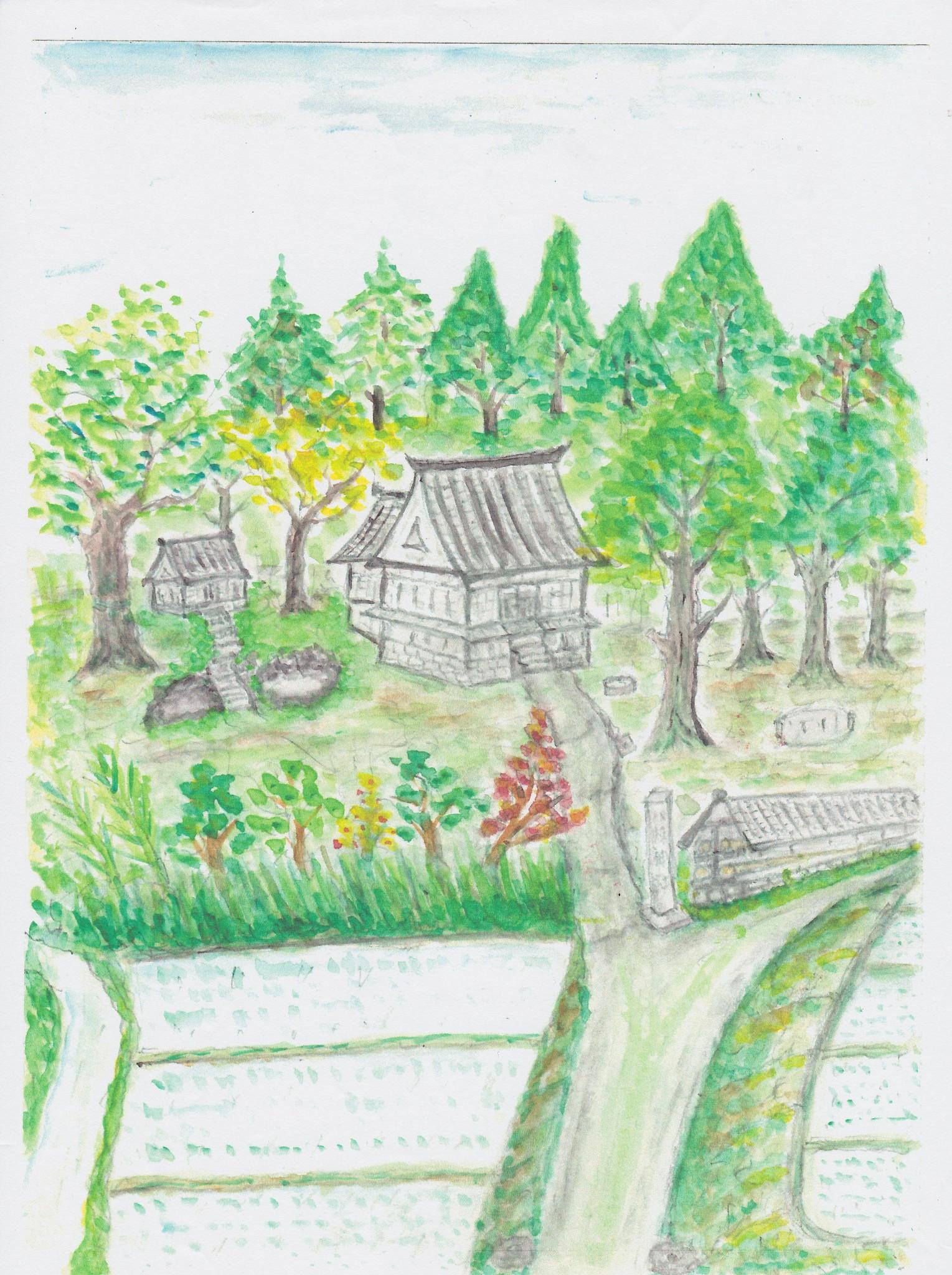 昭和中期、八幡神社の情景