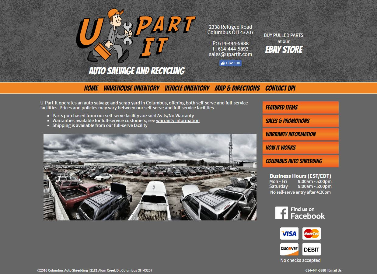 Front page design for U-Part-It